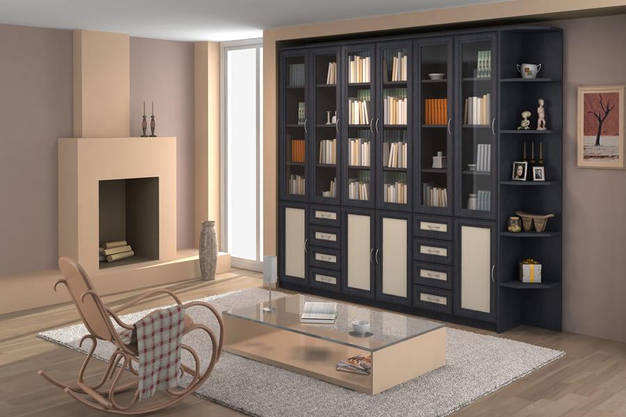 шкаф в гостиной для книг